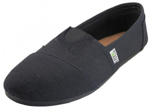 Wholesale Women's Canvas Shoes - All Black, Size 9