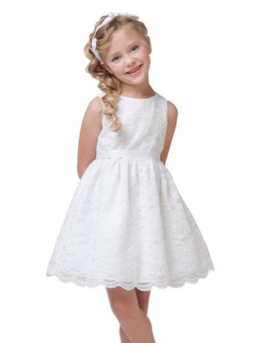 Soft Quality Lace Girl Dress - White, Size 10