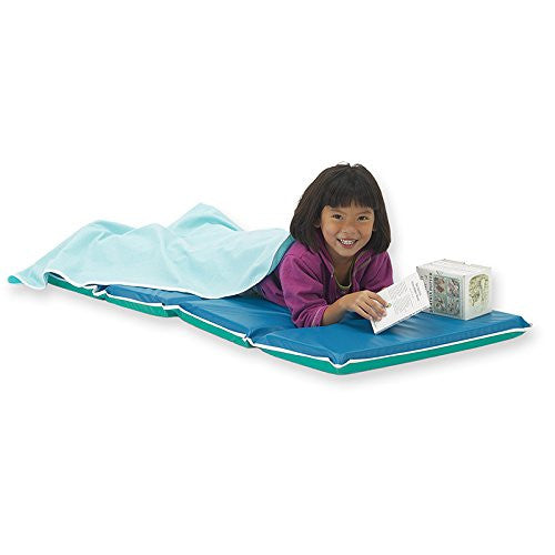 "Heavy-Duty Mat - 2"" Thick; 2"" x 24"" x 48"" - Folds to 12"" x 24"" - Blue/Teal with light gray binding"
