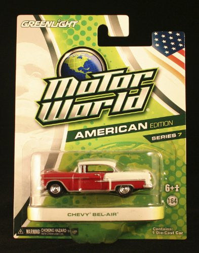 Greenlight - Motor World Series 7 - Chevy Belair Hard Top (1955, 1/64 scale diecast model car, Red & White)