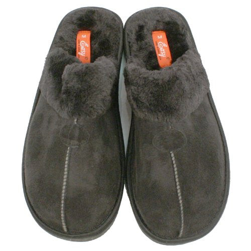 Wholesale Men's Velour with Fur House Slippers - Black, Large