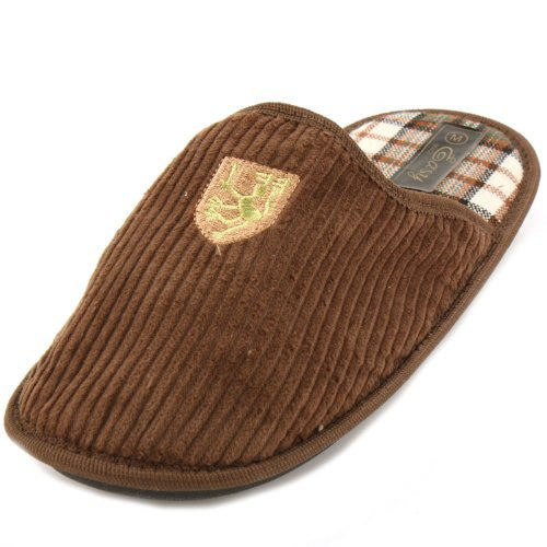 Wholesale Men's Corduroy House Slippers - Brown, Large
