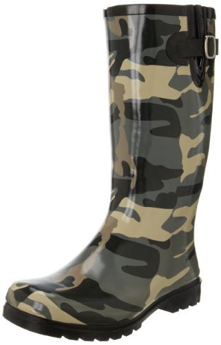 Nomad Women's Puddles Rain Boot,Black/Olive Camo,9 M US