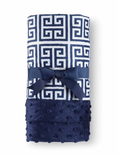 Navy Greek Key Blanket
