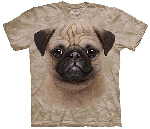Pug Puppy, Loose Shirt - Black Adult Small