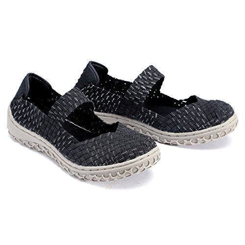 Corkys Womens Liz Fashion Woven Flats Shoes,8 B(M) US,Black/Silver