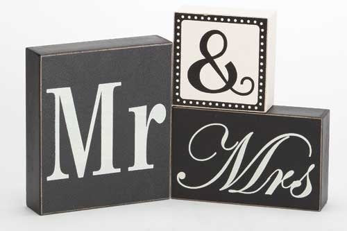 "6.5"" 3PC SET MR & MRS BLOCKS TYPOGRAPHIC COLL"
