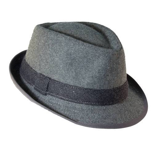 Dorfman Pacific Mens Wool Blend Fedora Hat with Herringbone Band (Grey / X-Large / 23 1/2-24 Inches)