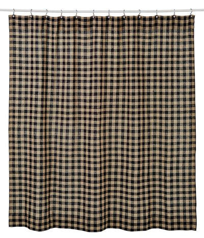 Burlap Black Check Shower Curtain 72x72""