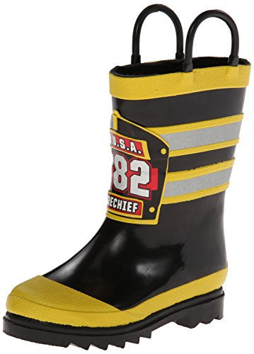 Western Chief F.D.U.S.A. Firechief Rain Boot (Infant/Toddler/Little Kid),Black,4 M US Big Kid
