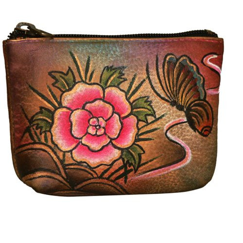 Anuschka Genuine Leather Hand Painted Coin Pouch (Floral)
