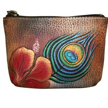 Premium Peacock Flower Coin Purse