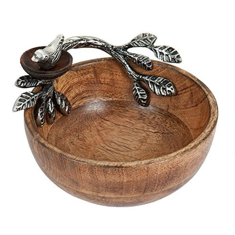 Wood Dip Cup With Bird Nest