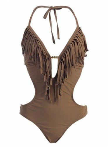MW Women's Fringe Swimwear Monokini Bikini 1-Piece Swimsuit (Light Cocoa Brown / Small / 2-4)