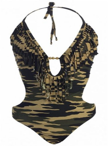 MW Women's Fringe Swimwear Monokini Bikini 1-Piece Swimsuit (Camo / Medium / 6-8)