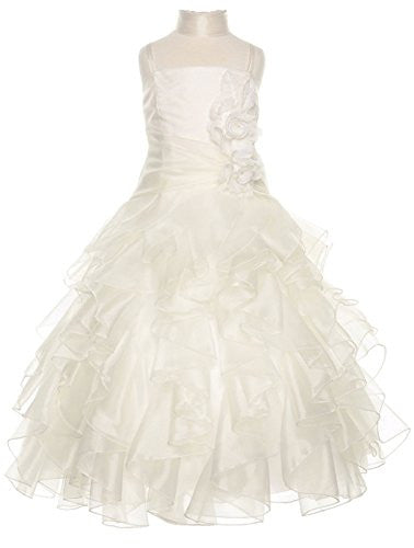 Organza Multi Layer Ruffles Long Dress - Ivory, 10