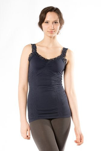 Corset Look Lace Cami Top, Ink - One Size