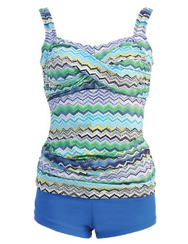Marina West Twisted Top Tankini Swimsuit (Wave Blue / Small)