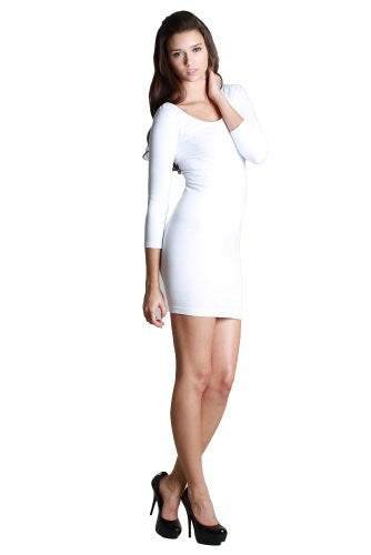 Seamless 3/4 Sleeve Scoop Neck Dress - 7 White, One Size