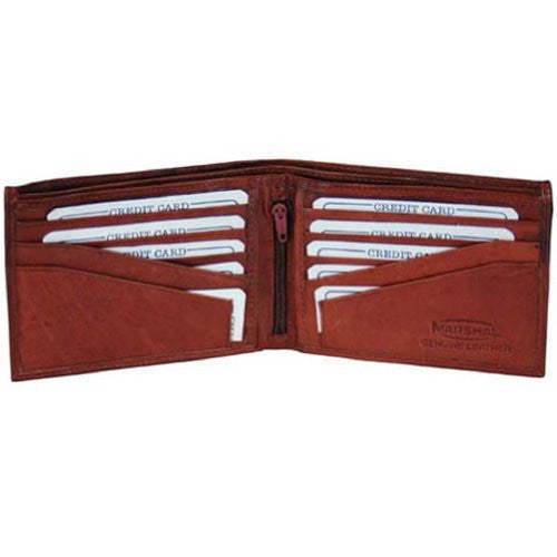 100% Genuine Leather Marshal Tri-fold Mens Walle (Burgundey)