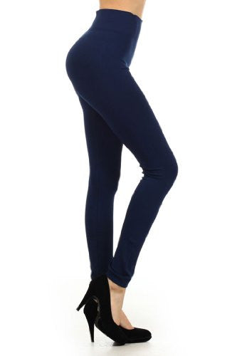Yelete Solid color, Basic Leggings with Mid-Rise - Navy