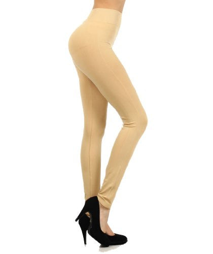 Yelete Solid color, Basic Leggings with Mid-Rise - Beige