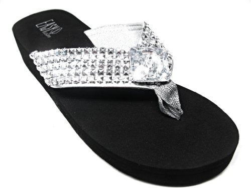 Silver Studded Bling Medallion Platform Sandals (6, Silver)