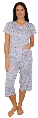 bSoft Bamboo Jersey Light Weight Button Down Capri Pajamas (Lavender / Large)