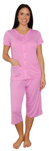 bSoft Bamboo Jersey Light Weight Button Down Capri Pajamas (Pink / X-Large)