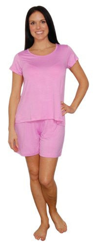 bSoft Bamboo Jersey Light Weight Tee and Shorts Pajama Sets (Pink / X-Large)