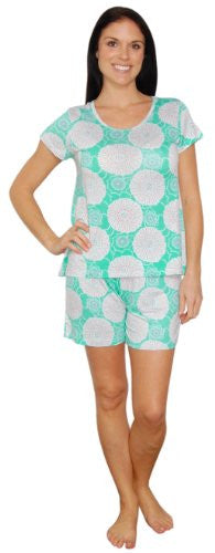 bSoft Bamboo Jersey Light Weight Tee and Shorts Pajama Sets (Spring Blooms Seafoam / Large)