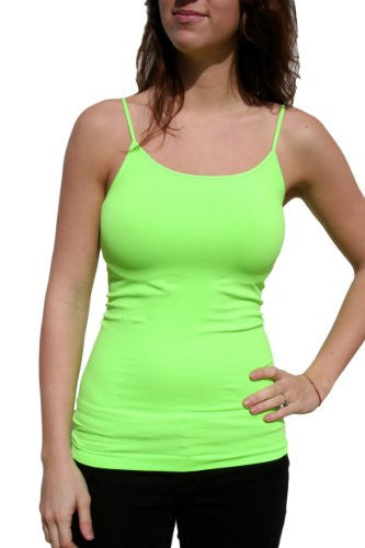 Seamless Spaghetti Strap Long Camisole - 118 Neon Green, One Size