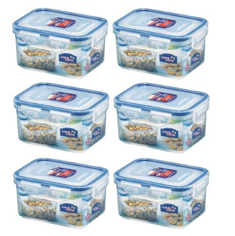 (Pack of 6) Lock&Lock Food Container, Short, HPL807, 1.9-Cup, 15-Oz