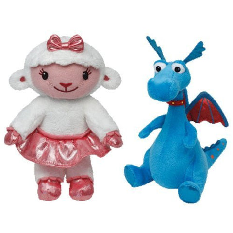 (2 Piece Bundle) Lambie the Lamb Regular Disney Doc McStuffins Beanie Baby Plush, 8-Inch and Stuffy the Dragon Regular Disney Doc McStuffins Beanie Baby Plush, 8-Inch