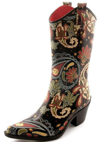 Corkys Rain Boots for Women,8 B(M) US,Rodeo Paisley