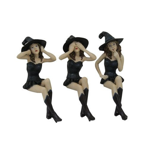 See, Hear, Speak No Evil Witches Shelf Sitters