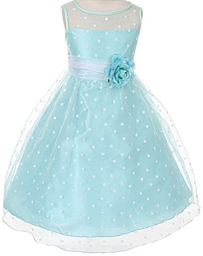 Lovely Organza Polkadot Dress with Sheer Illusion Neckline - Mint, Size 12