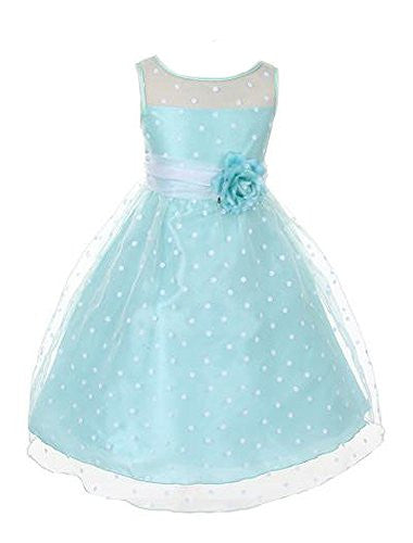 Lovely Organza Polkadot Dress with Sheer Illusion Neckline - Mint, Size 2
