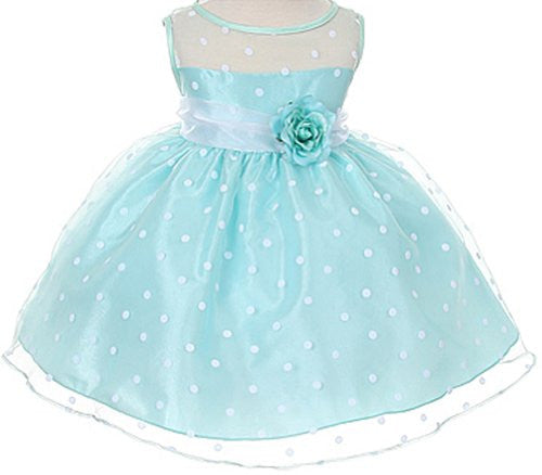Lovely Organza Polkadot Dress with Sheer Illusion Neckline - Mint, Large