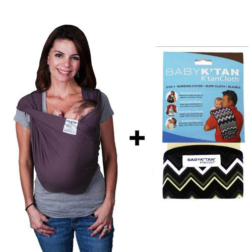 Baby K'Tan Bundle - 2 items: Baby Carrier X-Small (Eggplant) AND K'Tan Cloth (Zig Zag)