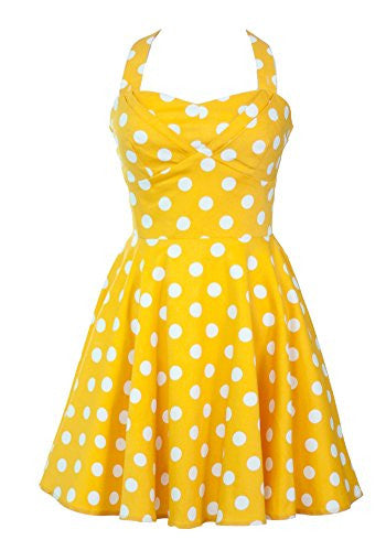 Ixia, Full Skirt Cotton Sateen Dress with ADJ Band & Pleated Bust, Yellow, Large