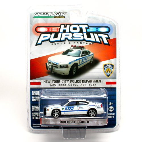 Greenlight Hot Pursuit Series 12 - Dodge Charger New York City Police Dept (NYPD) (2010, 1/64 scale diecast model car, White)
