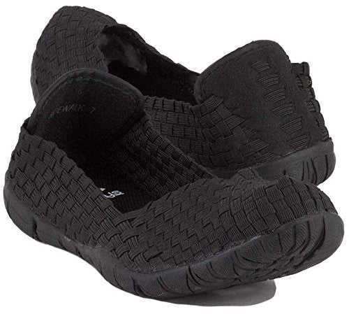 Corkys Womens Sidewalk Slip on Flat Shoe,Black,6