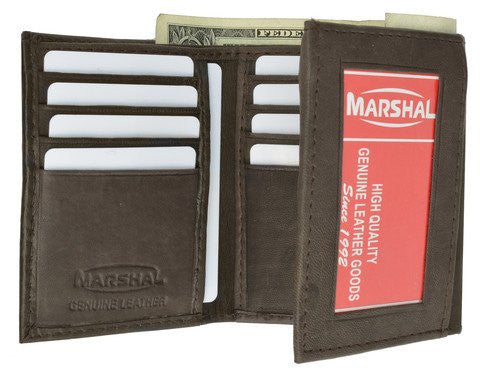 100% Genuine Leather Marshal Tri-fold Mens Walle (Brown)