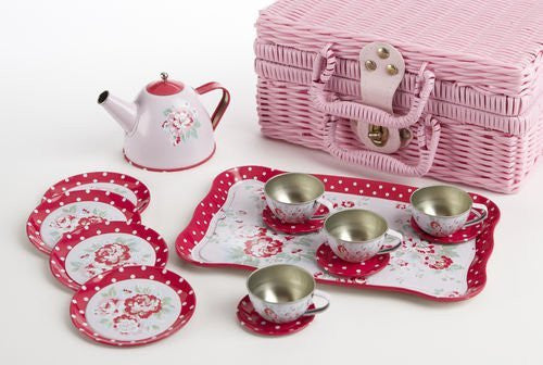 "4"" Tin Tea Set for 4/ Pink Basket, Rose"