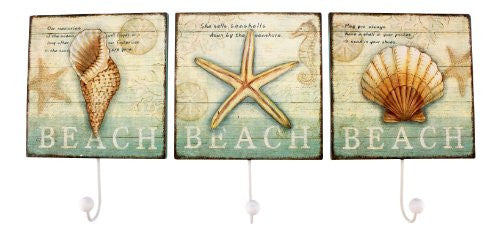 Wood Shell/Beach Wall Hook Plaques, 3 Asst