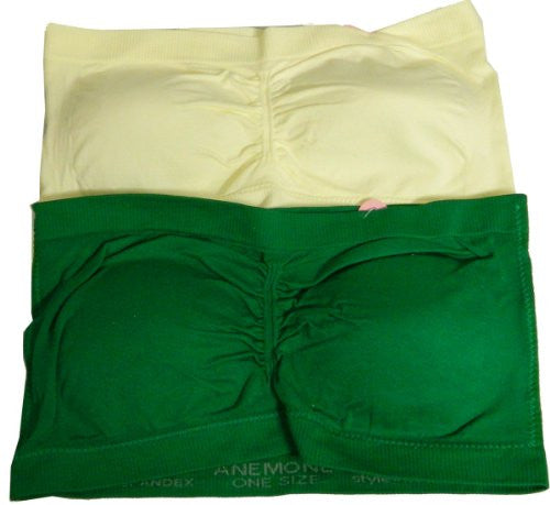 Anenome Women's Strapless Seamless Bandeau Padding (2 or 4 pack),One Size,Ivory/Green