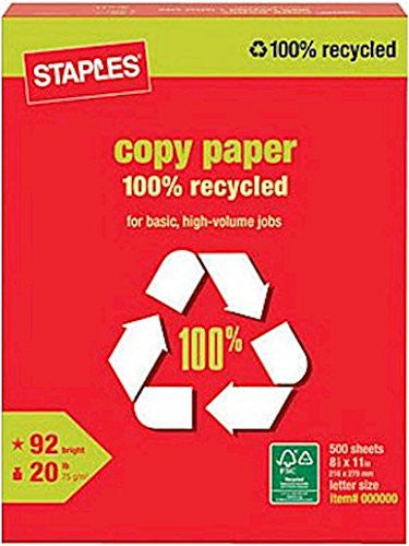 Staples 100% Recycled Copy Paper, Letter-size, 92/104 US/Euro Brightness, 20 lb, 500 Sheets/Rm
