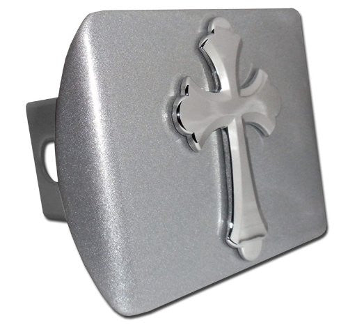 Cross (Ruffled) Brushed Chrome Hitch Cover