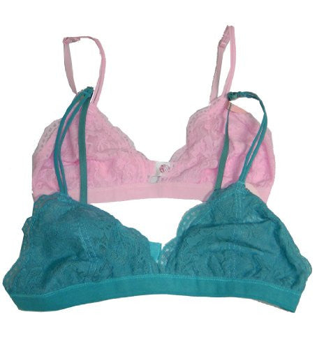 Anemone Women's Lace Bralette (2 Pack),Medium/Large,Light Pink/Light Teal